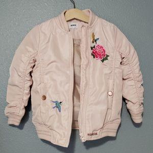 HUDSON Girls pink lined zip up bomber jacket